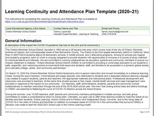 2020 Learning Continuity and Attendance Plan Ontario-Montclair School District