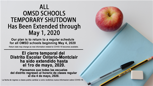 All OMSD Schools temporary shutdown has been extended through May 1, 2020