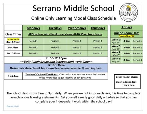 Return to School April 2021 - Online Only Learning Model