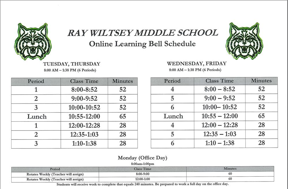 Bell Schedule for Online Learning 2020