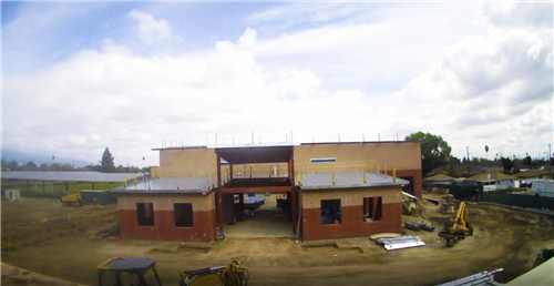 "The Wellness, Arts & Technology Center - Progress Photo ""Exterior structure and walls established"""