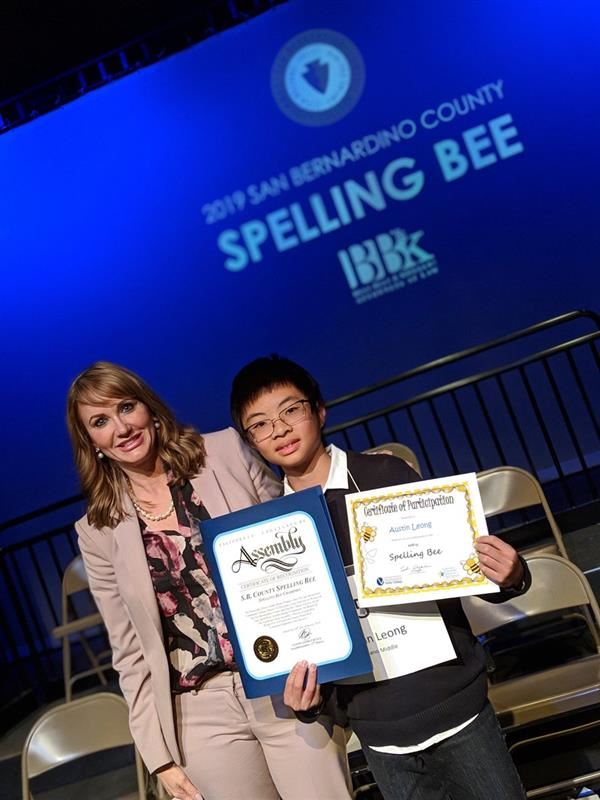 Austin Leong after winning the San Bernardino County Spelling Bee!