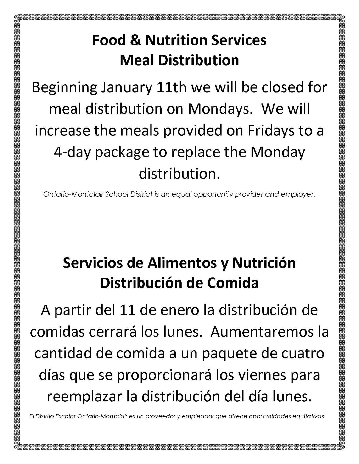 Food & Nutrition Services Meal Distribution Flyer