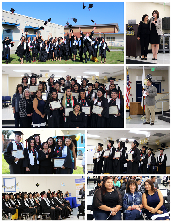 A Collage showcasing some of the special moments at the OMSD Parent Educational Center Open House and Graduation Ceremony.
