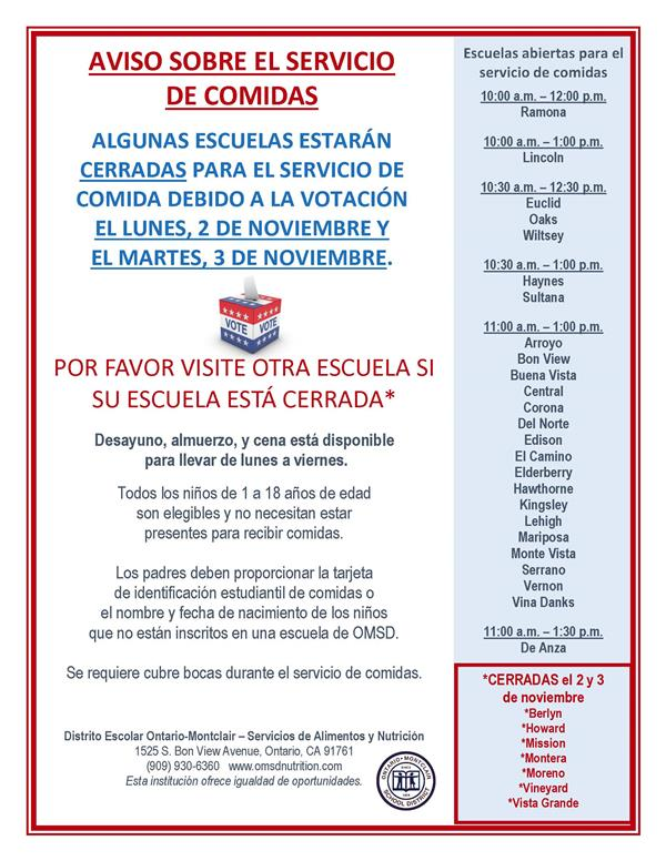 Free Meals for Students - Spanish Flyer