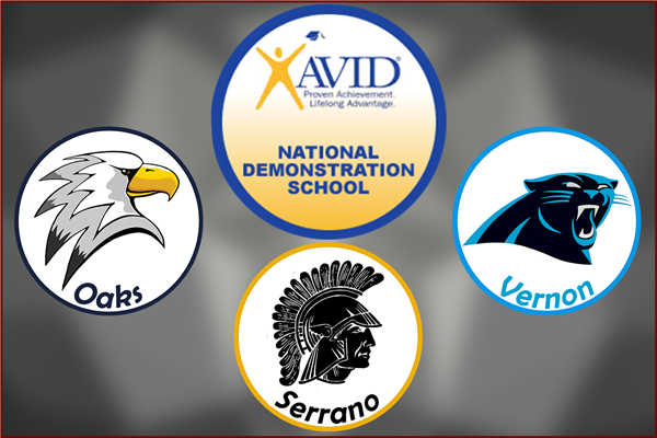 Oaks, Serrano, & Vernon Middle Schools awarded AVID Site of Distinction, 2nd year in a row!